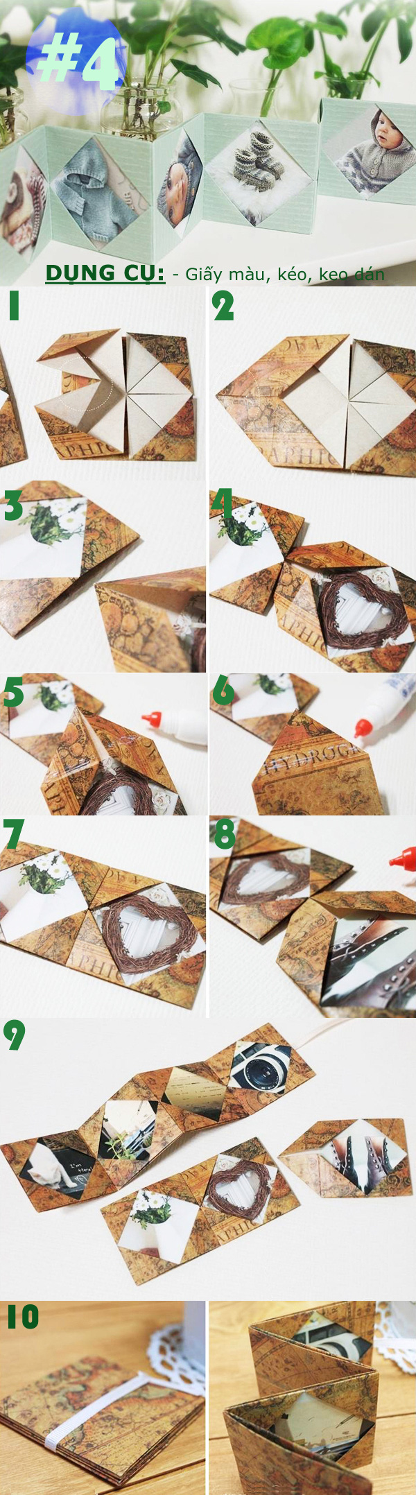 Các cách gấp khung ảnh bằng giấy cực hay 4