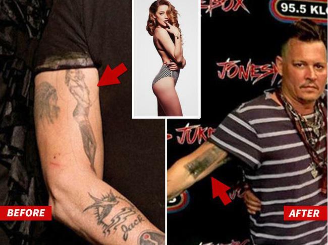 Hậu chia tay, Johnny Depp sửa hình xăm tên Amber Heard thành đồ cặn bã - Ảnh 2.