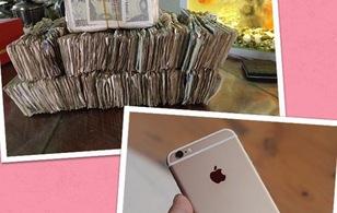 Vợ mua iPhone 6 plus tặng chồng bằng 18,5 triệu đồng tiền lẻ