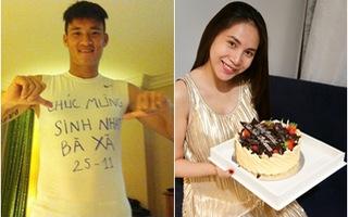 Công Vinh viết lời mừng sinh nhật Thủy Tiên trên áo